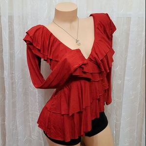 Gorgeous layered ruffle top CHRISTMAS PARTY !!